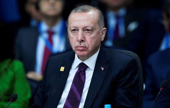 De Turkse president Tayyip Erdogan tijdens de NAVO-top van vorige week in Watford even buiten Londen.