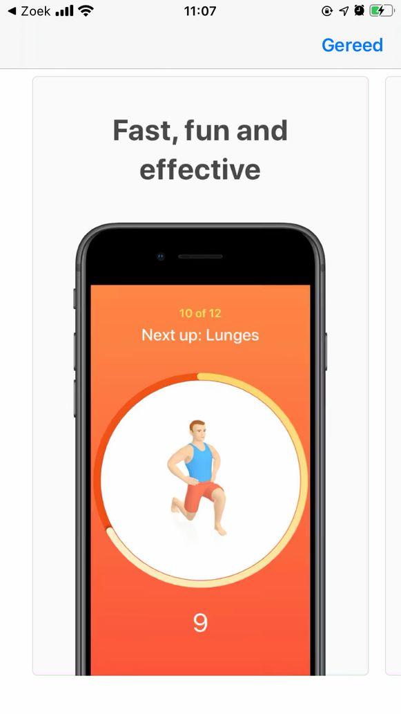 Sporten met de app Seven: 7 minuten per dag trainen.