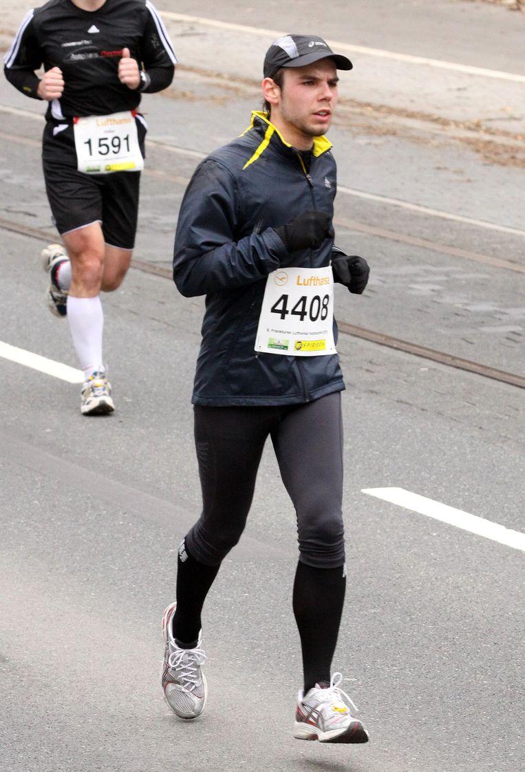 Lubitz tijdens een halve marathon in Frankfurt in 2010. Beeld null