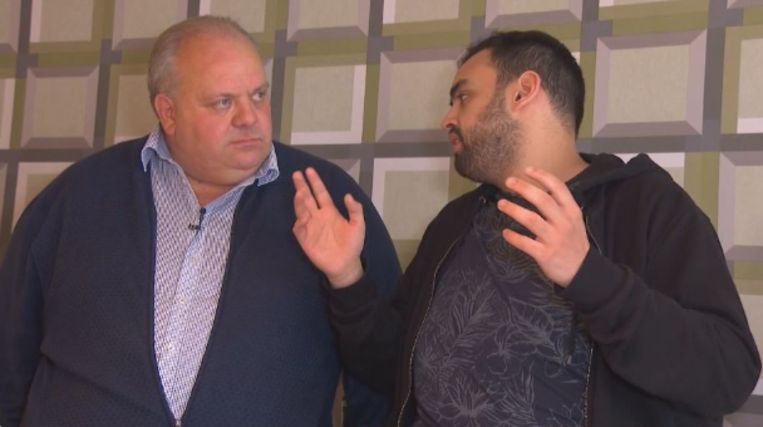 De Ninoofse politicus met comedian Kamal Kharmach.
