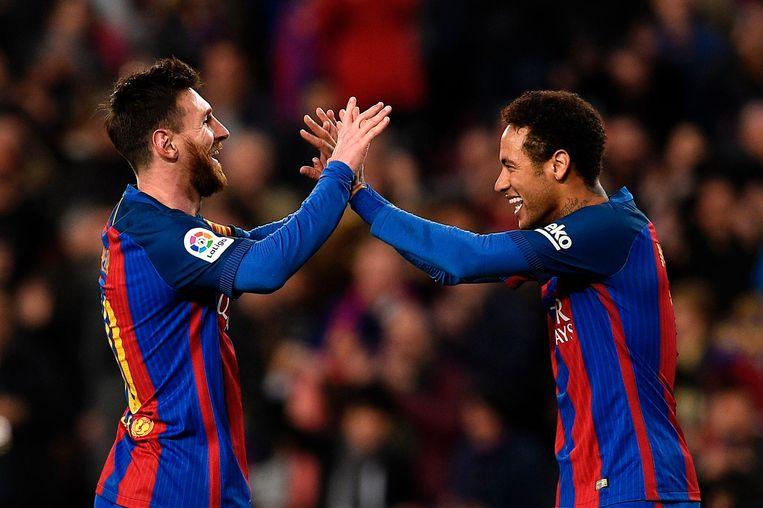 Maart 2017: Messi en Neymar vieren samen een goal voor FC Barcelona.