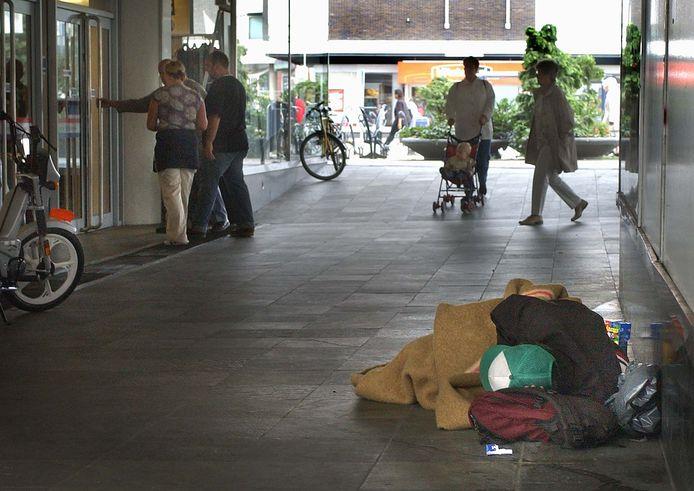 Dakloze in Arnhem op archiefbeeld.
