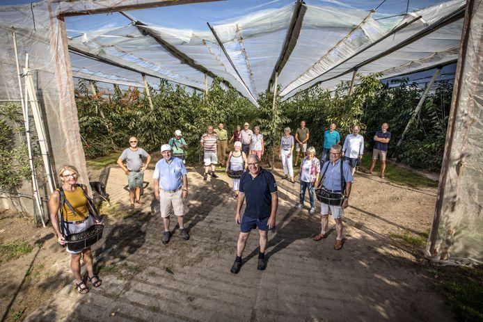 Jos Schilderink (vooraan) van fruitboerderij Oold Bleank met naast en achter hem leden  van de klussenclub van de Hofkerk en andere fruitplukkers.