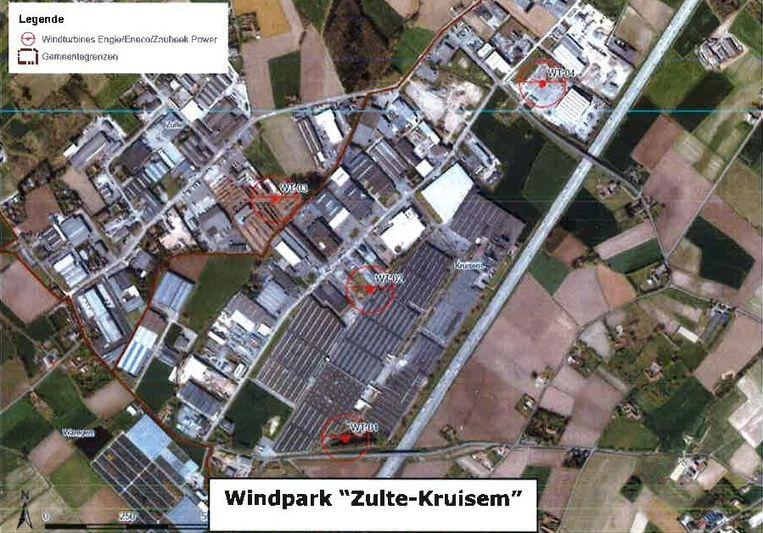 De geplande windmolens in Zaubeek.