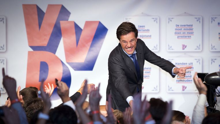 VVD-lijsttrekker Mark Rutte viert in 2012 de verkiezingsoverwinning. Beeld anp