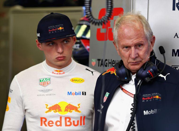 Max Verstappen en Helmut Marko.
