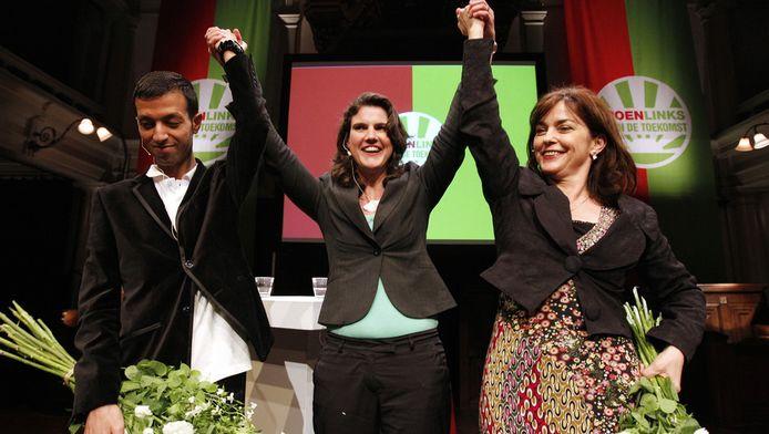 In het midden partijvoorzitter Heleen Weening, met naast haar Tofik Dibi en Jolande Sap tijdens het controversiële lijsttrekkersreferendum
