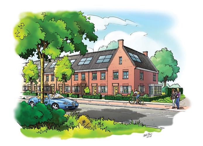 Een artist impression van het bouwplan aan de Schijndelseweg in Sint-Michielsgestel.