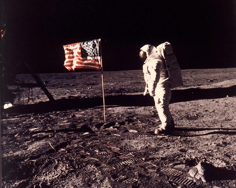 Buzz Aldrin op de maan (archiefbeeld)