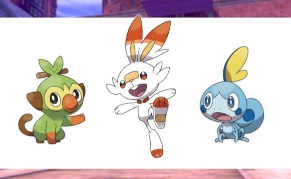 De drie nieuwe starter-Pokémon: Grookey, Scorbunny en Sobble.