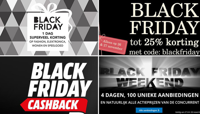 Nederlandse Black Friday advertenties.
