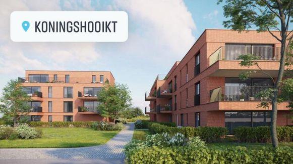 Zo zal het appartementencomplex Hooikt 1822 er gaan uitzien.