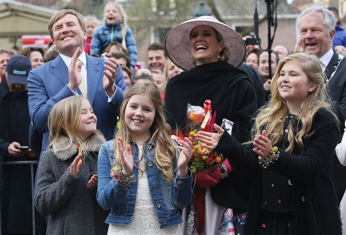 De koninklijke familie tijdens Koningsdag in Zwolle dit jaar.