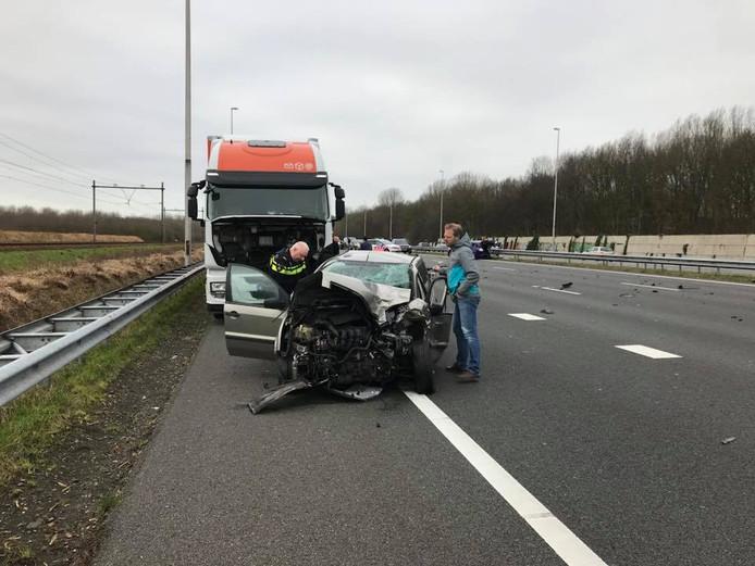 Karel Spang reed in zijn vrachtwagen voor Post NL.