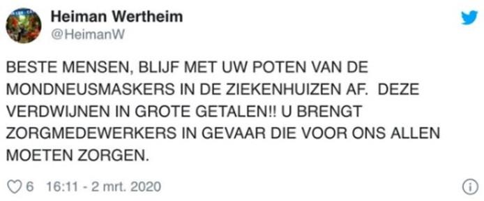De inmiddels verwijderde tweet.