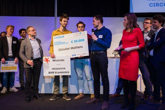 Pieter Dondeyne won met zijn startup Circular Matters de prijs van grensverleggend ondernemerschap.