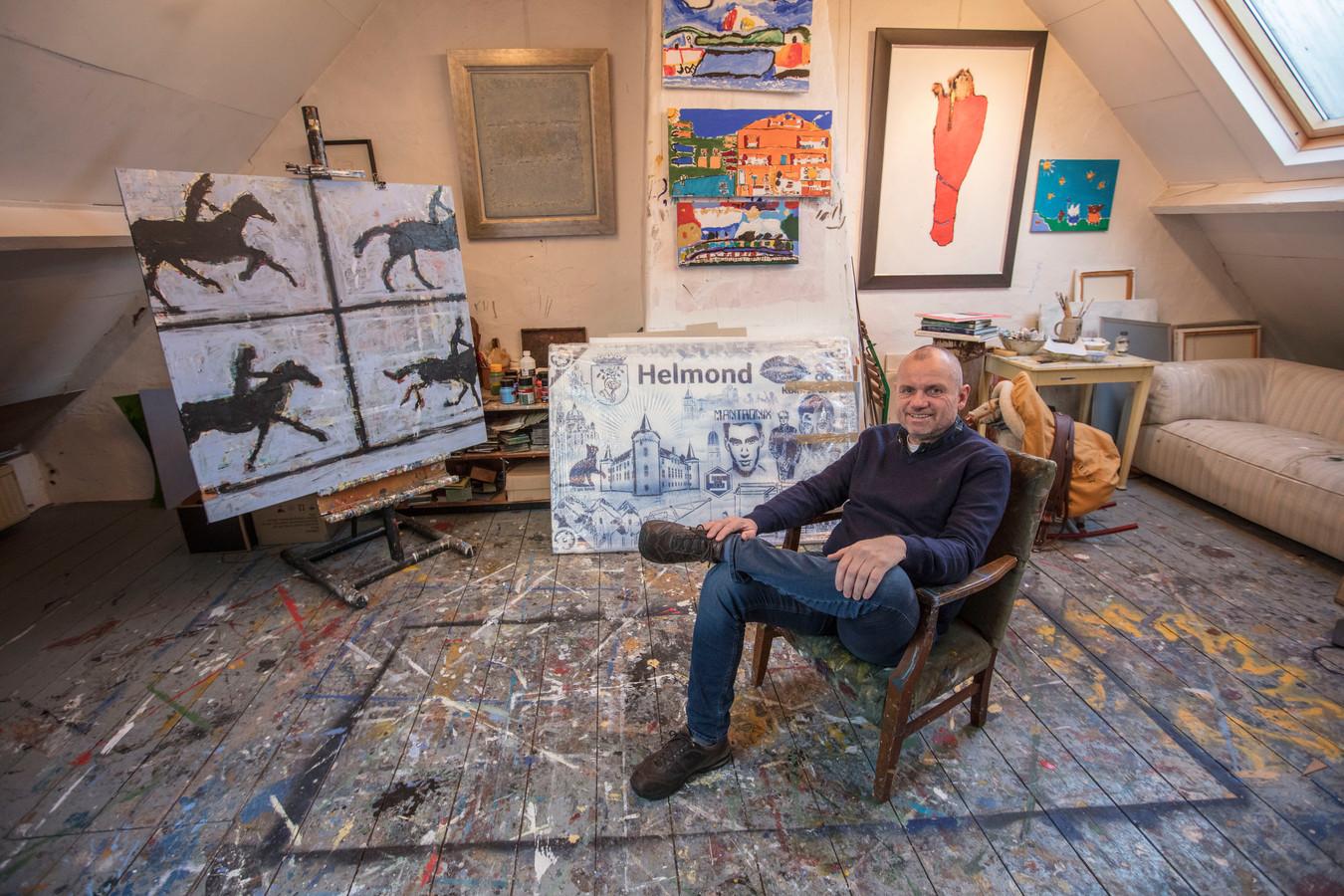Hans van de Berkmortel in zijn atelier in Helmond.
