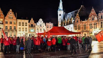 Protest op Grote Markt tegen ontslag vakbondsman