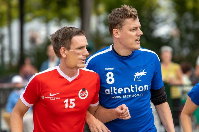 DSC-aanvoerder Guido Brekelmans (in het rood) werd een jaar geleden kankervrij verklaard.