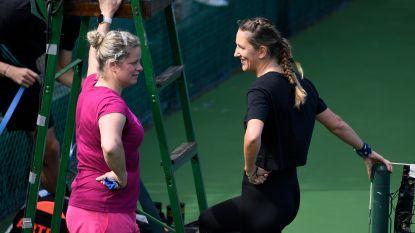 Clijsters traint dag voor start toernooi in Monterrey met ook haar manager Bob Laes op court