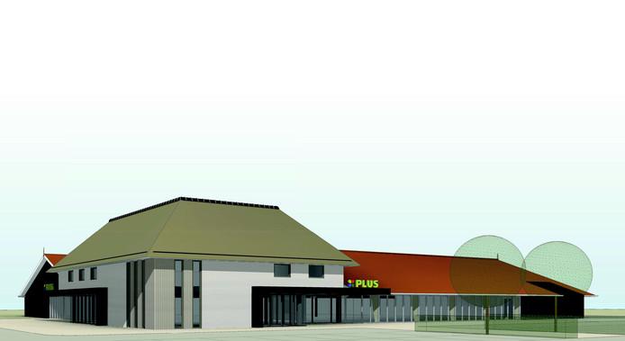 Het ontwerp van de nieuwe Plus-supermarkt in Vrouwenpolder.