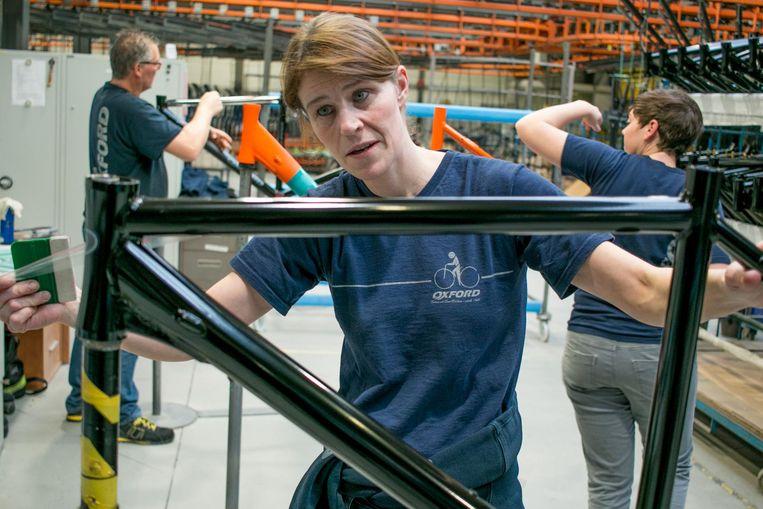 Werknemers van de Oxford-fabriek naarstig aan het werk.