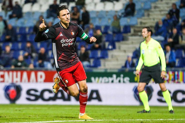Steven Berghuis of Feyenoord viert zijn tweede doelpunt. Beeld ANP