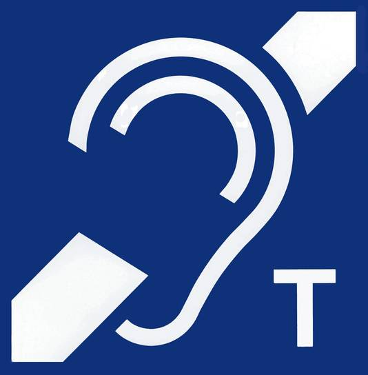 In zalen waarin ringleiding is aangebracht, wordt dit systeem aangegeven door middel van dit logo.