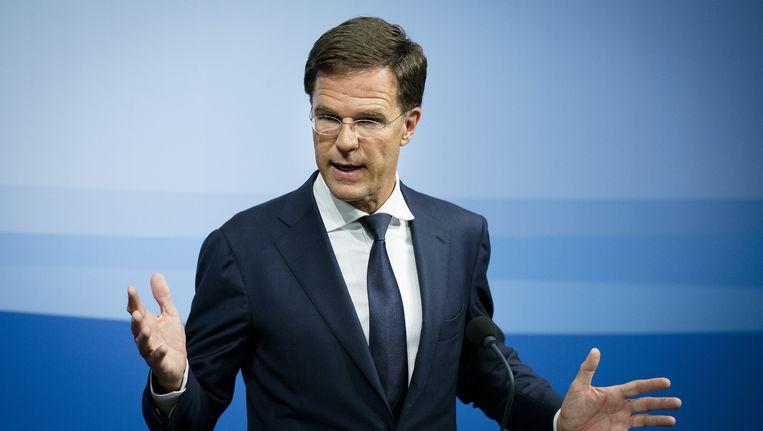 Premier Mark Rutte tijdens zijn wekelijkse persconferentie na afloop van de ministerraad. Beeld anp