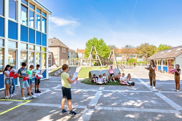 Gaat de traditionele musical dit jaar door voor achtstegroepers ? Op de Petrus en Paulusschool in Breda in ieder geval wel. Op de speelplaats wordt met juf Sal Bauwens druk geoefend.
