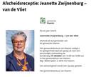 De oproep voor de afscheidsreceptie van Jeannette Zwijnenburg.