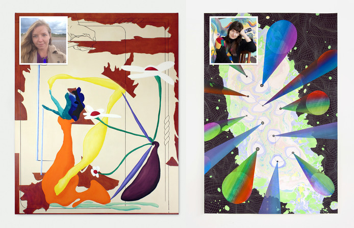 Iodine Sessile Clump van Meg Forsyth (links) en Fabric of Reality #11 door Simone Albers (rechts).