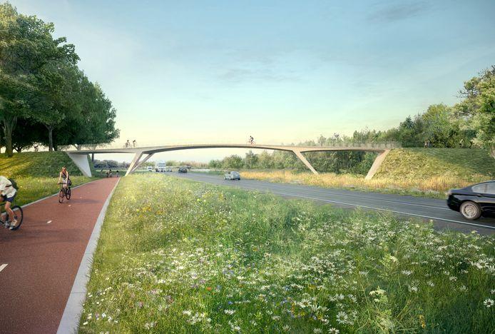 Visual van de fietsbrug zoals die nu gebouwd wordt over de Spottersweg, ter hoogte van Oirschotsedijk/Eindhovensedijk (nummer 3 op kaart).