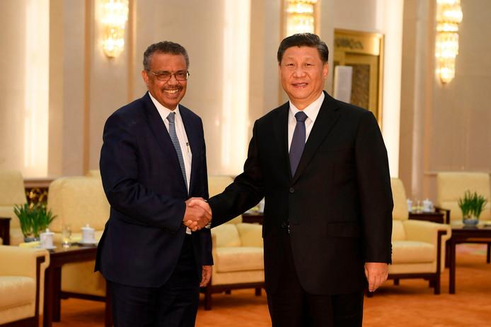 WHO-directeur Tedros Adhanom was in peking voor overleg met president Xi Jinping.