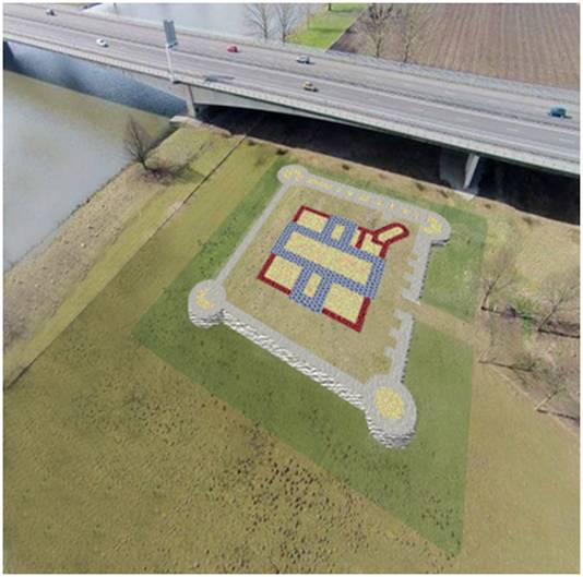 De restanten van kasteel Heumen, dat naast de A73 in de uiterwaarden van de Maas bij Heumen ligt, zouden met plaveisel zichtbaar gemaakt kunnen worden. Illustratie: Cees Bakker / Ontwerpbureau Ruimtewerking