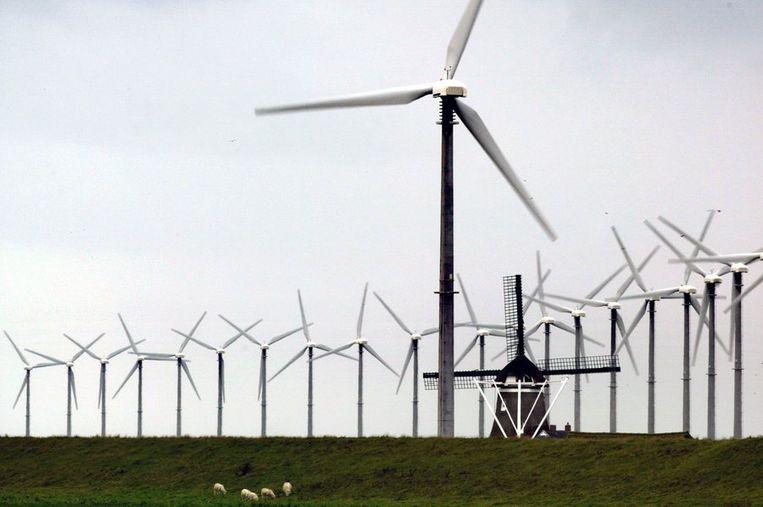 Windmolenpark bij Eemshaven Beeld anp