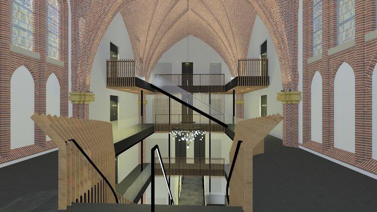 Ontwerp voor een appartementenproject in de Heilig Hartkerk, Boxtel. Beeld BOUWKUNST Architecten