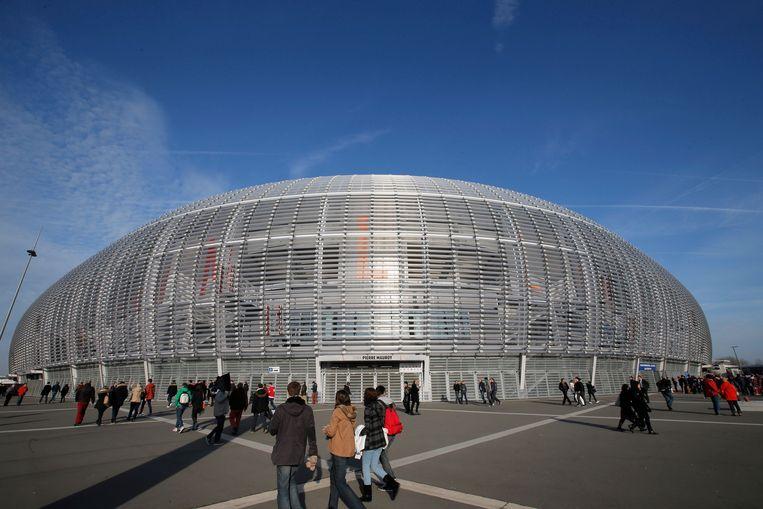Het Stade Pierre Mauroy in Lille, waar Kroatië en Frankrijk elkaar dit weekend ontmoeten in de eindstrijd om de Davis Cup. Beeld AP