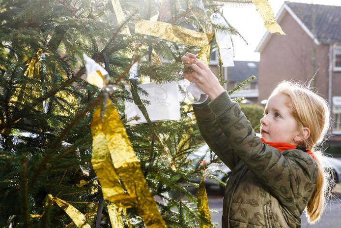 Sam hing vorig jaar haar wens in de Kerstwensboom in Vollenhove.