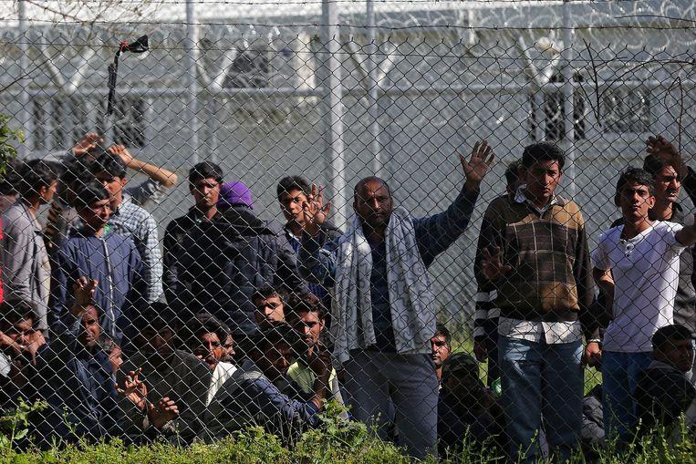 Vluchtelingen in Moria op Lesbos. Beeld epa