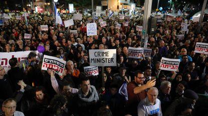 Israëli's massaal op straat tegen Netanyahu