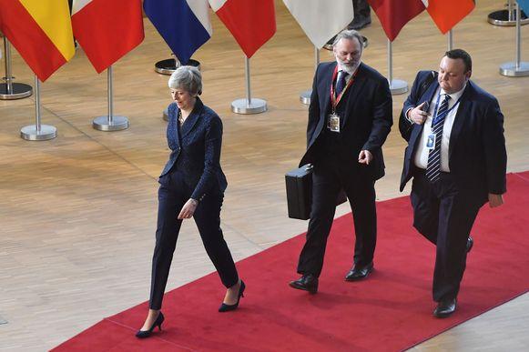 May kwam vanmiddag aan in Brussel voor de Europese top.