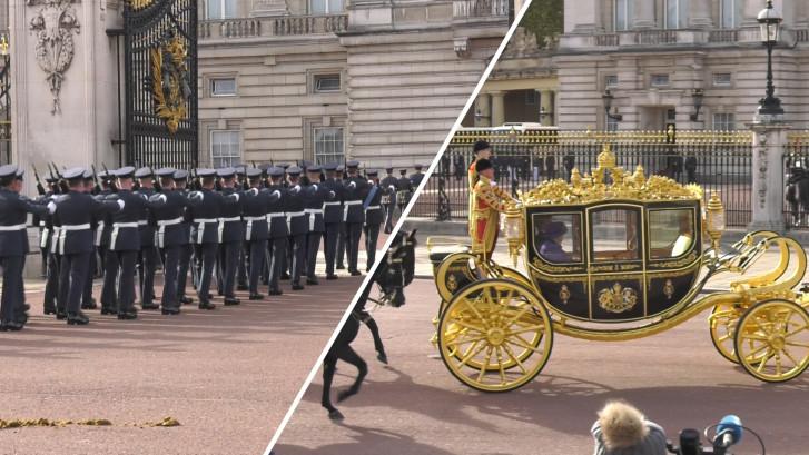 Koningspaar onthaald met ceremonie bij Buckingham Palace