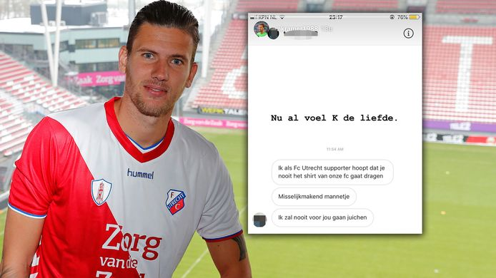 Michiel Kramer in het tenue van FC Utrecht. Inzet: De reactie van een FC Utrecht-supporter.