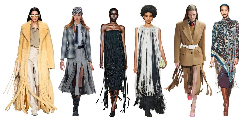 Vanaf links: Bottega Veneta, Christian Dior, Salvatore Ferragamo, Jil Sander, Prada, Dries van Noten. Beeld Imaxtree