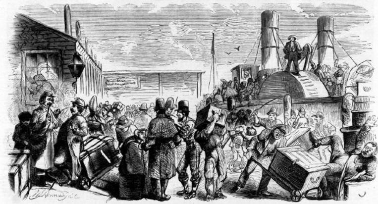 Europese immigranten bij hun aankomst in de Nieuwe Wereld, 1858 (ILLUSTRATIE UIT ?HARPER?S WEEKLY?) Beeld