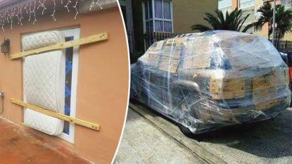 Huizen en auto's in Florida gebarricadeerd met al het mogelijke voor orkaan Dorian