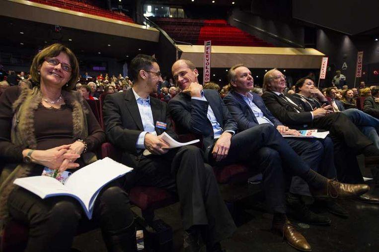 PvdA-fractievoorzitter Diederik Samson (M) tijdens het PvdA-congres in het Chassé Theater in Breda. Beeld anp
