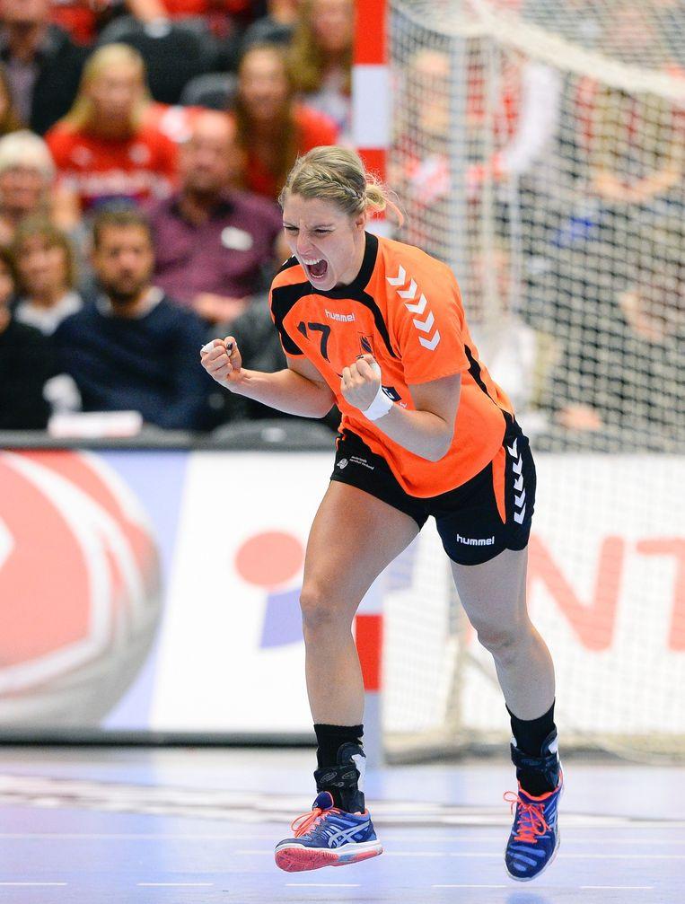 Cornelia Groot tijdens de gewonnen halve finale van het WK Beeld afp