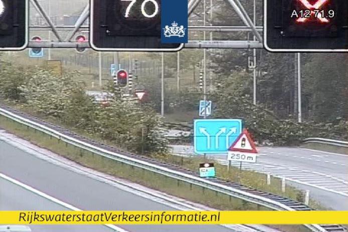 Door de omgevallen boom is de afrit naar Driebergen geblokkeerd